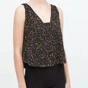 Brand new Zara black sequin sleeveless top